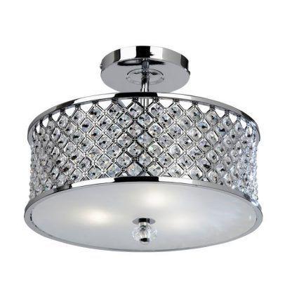 hudson okrągły plafon z kryształkami chrom