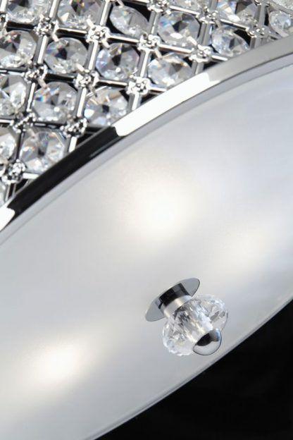 hudson srebrny plafon z kryształkami w połysku