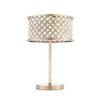 hudson złota lampa stołowa z kryształkami