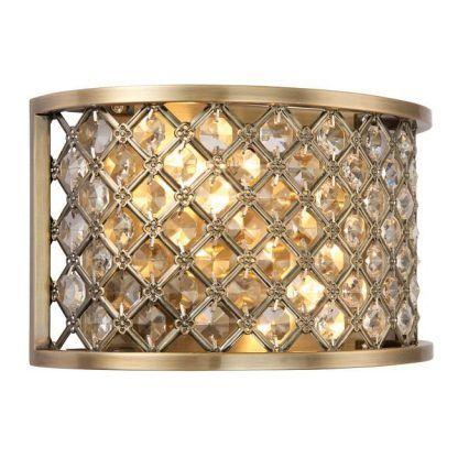 hudson złoty kinkiet z kryształkami