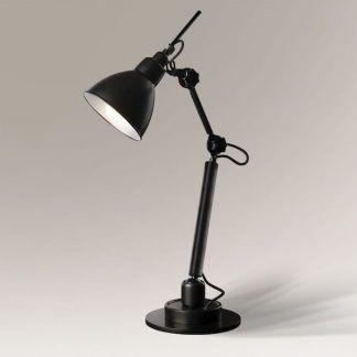 industrialna czarna lampa biurkowa z regulacją