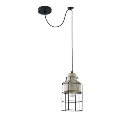 industrialna lampa wisząca beton i czarne pręty