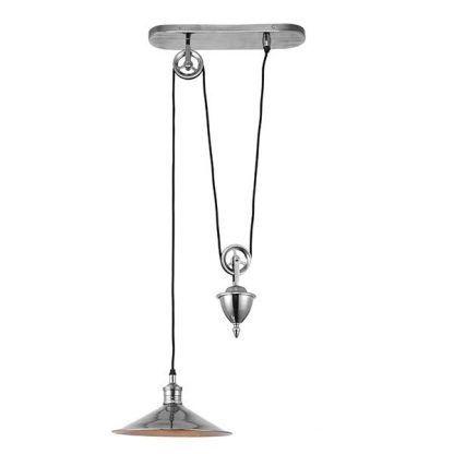 industrialna lampa wiszaca srebrno miedziana