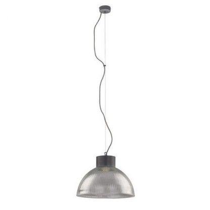 industrialna lampa wisząca szklany klosz srebrna