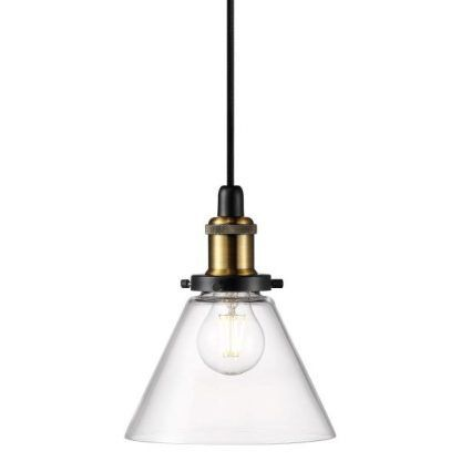 industrialna lampa wisząca szklany klosz złota