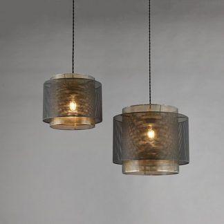 industrialna lampa wisząca z metalowym kloszem