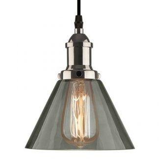 industrialna lampa wisząca z szarym kloszem