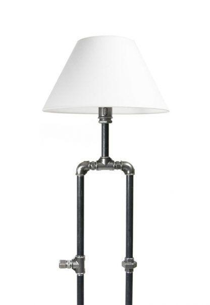 industrialna lampa z rurek i abażur biały - stojąca