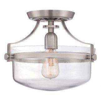 industrialny plafon ze szklanym kloszem srebrny