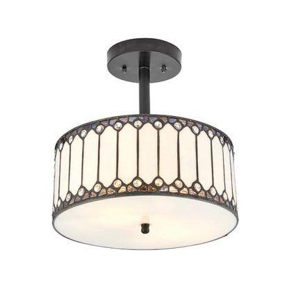 jasna lampa sufitowa z witrażowego szkła do salonu