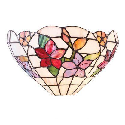 jasny kinkiet w kwiaty ze szklanej mozaiki