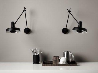 2 kinkiety z regulowanymi ramionami - czarne do kuchni
