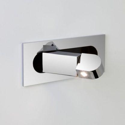 srebrny kinkiet do czytania LED połysk chrom
