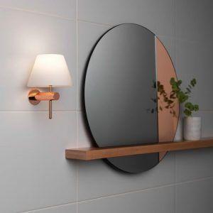 kinkiet do zamocowania na lustrze - nowoczesny miedziany z białym kloszem