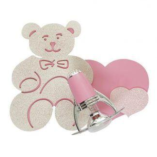 kinkiet dziecięcy różowy miś serduszka