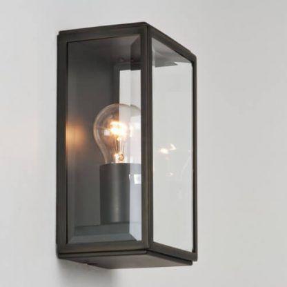 kinkiet industrialny szklany w czarnej oprawie