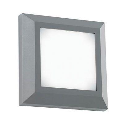 kinkiet kwadratowy nowoczesny - szary panel led