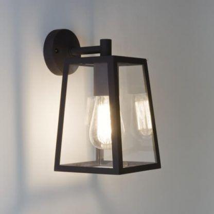 kinkiet lampion czarna oprawa szkło