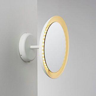 kinkiet lub lampa sufitowa do łazienki ze złotą obwódką