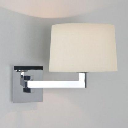 kinkiet na długim ramieniu do łazienki - srebrny połysk