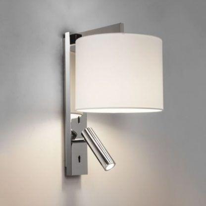 srebrny elegancki kinkiet z latareczką do czytania w sypialni