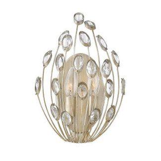 Kinkiet srebrno złoty z połyskującymi kryształkami