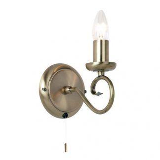 kinkiet świecznikowy z wyłącznikiem sznurkowym