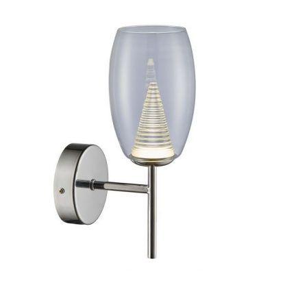 kinkiet szklany ze stożkiem światła jako dekoracja