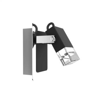 Kinkiet w kolorze srebrno-czarnym z prostokątnym kloszem