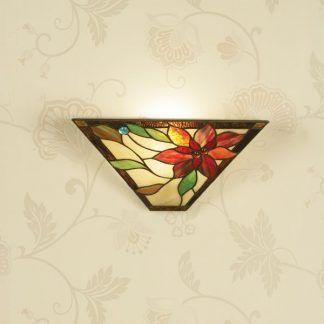 kinkiet w kwiaty ze szkła witrażowego