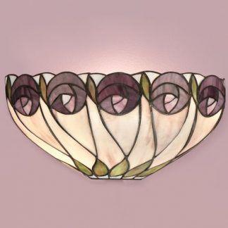 kinkiet witrażowy w róże pastelowa ściana