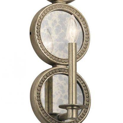 Kinkiet z kloszem w kształcie świecznika z lustrzanym wykończeniem