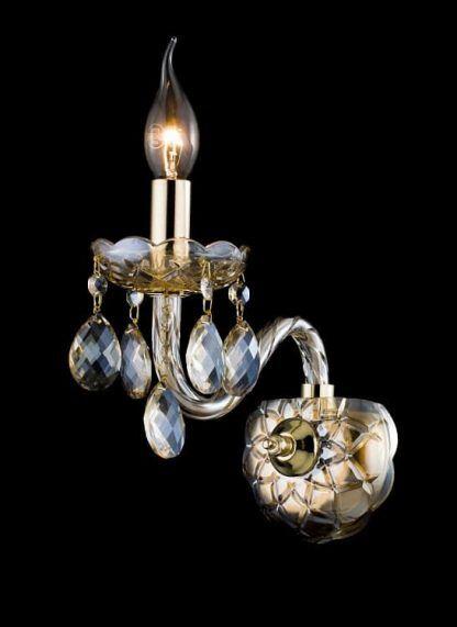 Kinkiet ze świecznikiem kryształkami i złotym włącznikiem