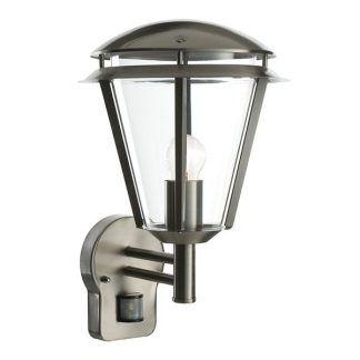 Kinkiet zewnętrzny w kolorze srebrnym czujnik ruchu