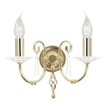 kinkiet złoty do salonu z podwójnym świecznikiem - glamour