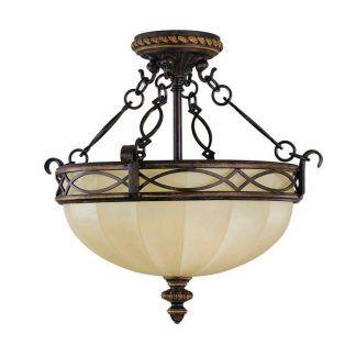Klasyczna brązowa lampa z beżowym kloszem