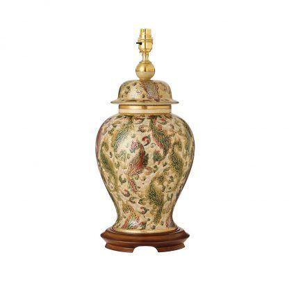 klasyczna ceramiczna lampa stołowa florystyczny wzór