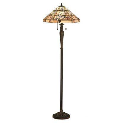 klasyczna dworkowa lampa podłogowa kolorowe szkło