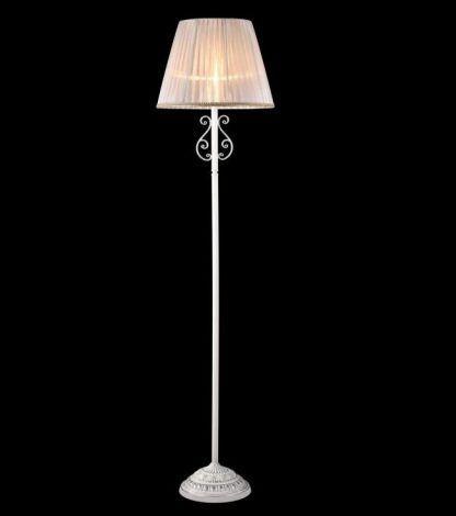 klasyczna lampa podłogowa z abażurem biała