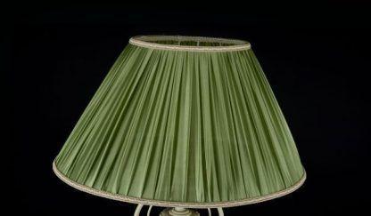 klasyczna lampa podłogowa z zielonym abażurem