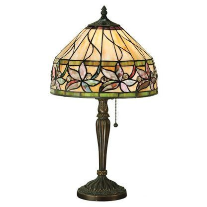 klasyczna lampa stołowa witrażowa w kwiaty