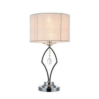 klasyczna lampa stołowa z białym abażurem