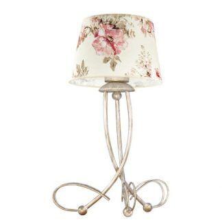 klasyczna lampa stołowa z kwiecistymi różowymi kwiatami