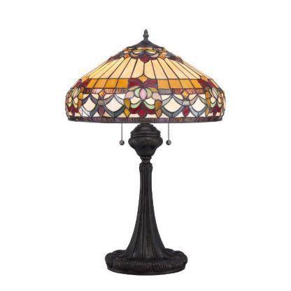 klasyczna lampa stołowa ze szkła witrażowego