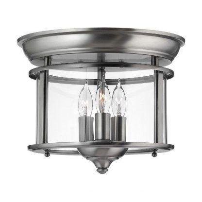 klasyczna lampa sufitowa w srebrnej oprawie świecznik