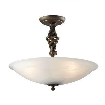 klasyczna lampa sufitowa z mlecznym talerzem