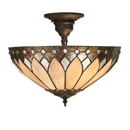 klasyczna lampa sufitowa z witrażowym kloszem brąz