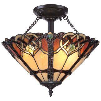 klasyczna lampa sufitowa ze szkła witrażowego