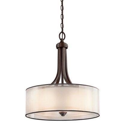 klasyczna lampa wisząca brązowa z kloszem nad stół