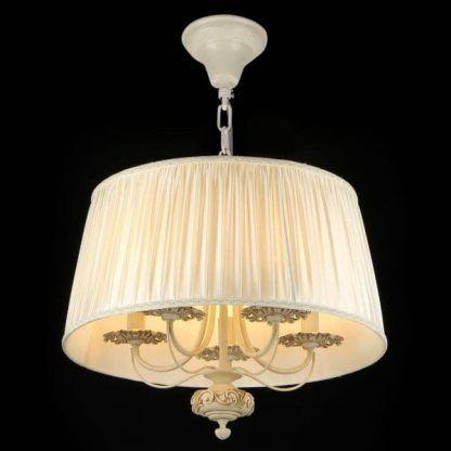 klasyczna lampa wisząca z beżowym abażurem